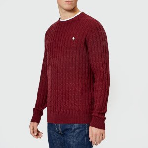 Jack Wills Men's Marlow Cable Knit Jumper - Damson