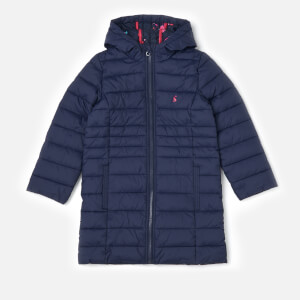 Joules Girls' Longline Kinnaird Packaway Coat - French Navy