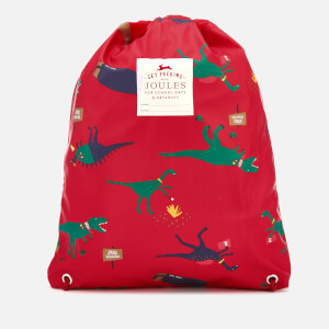 Joules Boys' Junior Rubber Drawstring Bag - Red Dinosaur