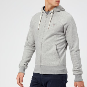 GANT Men's Original Full Zip Hoody - Grey Melange