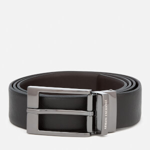 Armani Exchange Men's Leather Reversible Belt - Black/Dark Brown