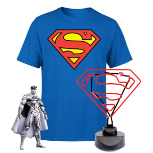 Lot Superman - Lampe Néon, T-Shirt et Figurine