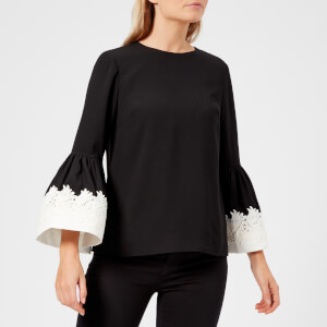 Ted Baker Women's Amonie Fluted Sleeve Lace Trim Top - Black