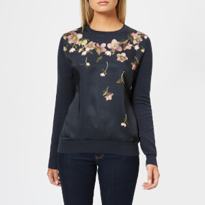Ted Baker Women's Sowfiee Arboretum Woven Front Knitted Jumper - Blue