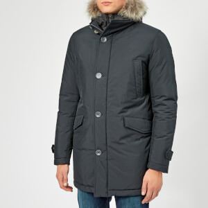 Herno Men's Coyote Fur Hood Parka - Navy/Grey