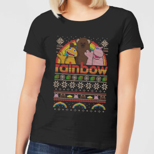 Rainbow Fairisle Christmas Sweatshirt Women's T-Shirt - Black