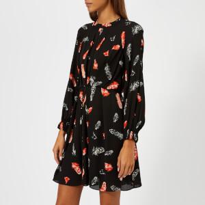 Whistles Women's Jasmine Feather Print Dress - Black/Multi