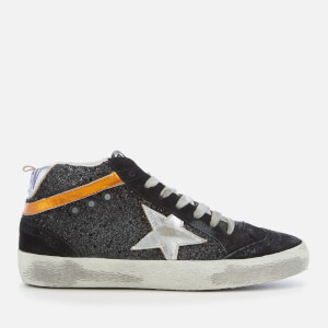 Golden Goose Deluxe Brand Women's Mid Star Trainers - Black Glitter/Silver Star