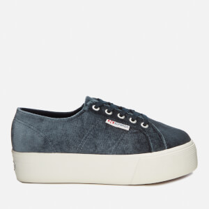 Superga Women's 2790-Velvet Chenille Flatform Trainers - Grey Dark