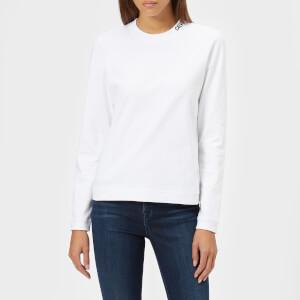 Calvin Klein Women's Embroidered Logo Long Sleeve T-Shirt - Bright White