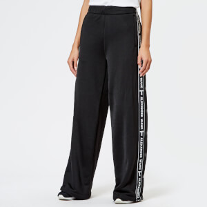 T by Alexander Wang Women's Sleek French Terry Pull-On Pants with Logo Tape - Black