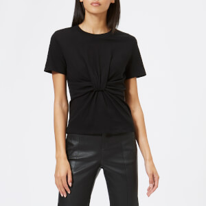 T by Alexander Wang Women's High Twist Jersey T-Shirt with Twist Front Detail - Black