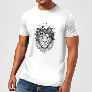 Balazs Solti Lion And Flowers Men's T-Shirt - White