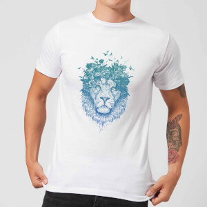 Balazs Solti Lion And Butterflies Men's T-Shirt - White