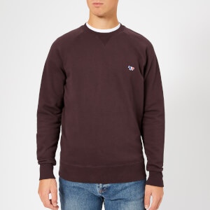 Maison Kitsuné Men's Tricolor Fox Patch Sweatshirt - Burgundy