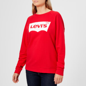 Levi's Women's Relaxed Graphic Crew Neck Jumper - Better Fleece Housemark Chinese Red