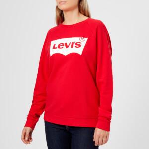 Levi's Women's Relaxed Graphic Crew Neck Jumper - Better Fleece Housemark Chinese Red