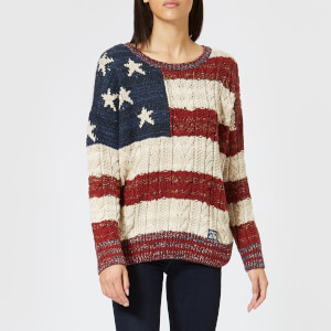 Superdry Women's Americana Cable Knit Jumper - Navy/Burnt Red/Ecru