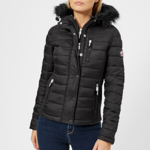 Superdry Women's Fuji Slim Double Zip Hooded Jacket - Black