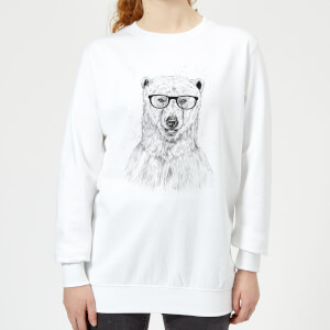 Polar Bear And Glasses Women's Sweatshirt - White