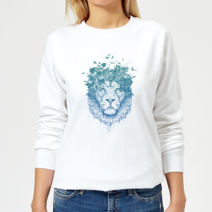 Lion And Butterflies Women's Sweatshirt - White