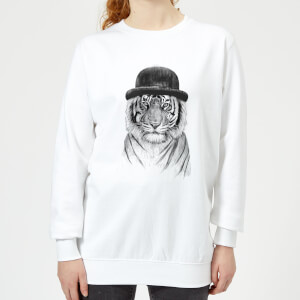 Tiger In A Hat Women's Sweatshirt - White