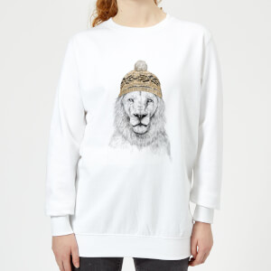 Lion With Hat Women's Sweatshirt - White