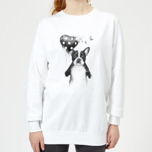 Bulldog And Balloon Women's Sweatshirt - White