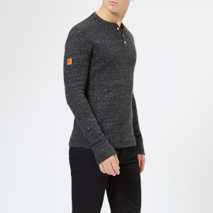 Superdry Men's Prospector Grandad Long Sleeve Top - Black Space Dye
