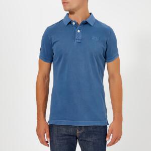 Superdry Men's Vintage Destroy Short Sleeve Pique Polo Shirt - Anchor Blue