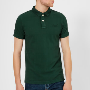 Superdry Men's Vintage Destroy Short Sleeve Pique Polo Shirt - Ava Green