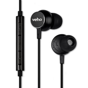 Veho Z3 Noise Isolating Stereo Earphones with Flat Flex Anti Tangle Cord (In-Line Control and Microphone) - Black