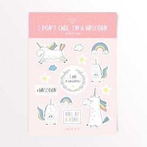 I Don't Care, I'm A Unicorn Sticker Pack