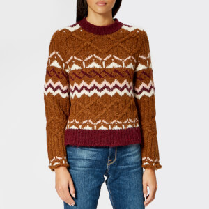 See By Chloé Women's Fair Isle Jacquard Knitted Jumper - Brown/Pink
