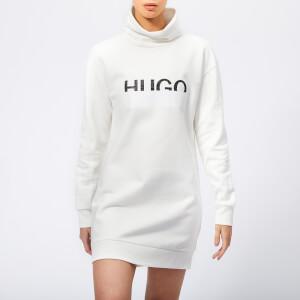 HUGO Women's Neika Long Logo Sweater Dress - White