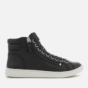 UGG Women's Olive Full Grain Leather Hi-Top Trainers - Black