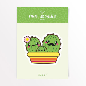 Kawaii Succulents Family Vinyl Decal