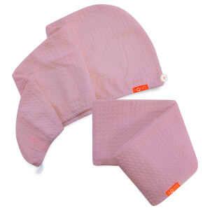 Exclusive Aquis Blush Waffle Hair Turban + Blush Waffle Hair Towel Bundle