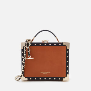 Aspinal of London Women's Mini Trunk Bag with Studs - Tan/Black