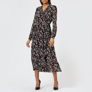 Michael Kors Women's Midi Ruffle Wrap Dress - Black/Maroon