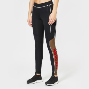 Ivy Park Women's Sheer Flocked Active Logo Leggings - Black
