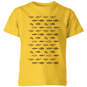 Florent Bodart Fish In Geometric Pattern Kids' T-Shirt - Yellow
