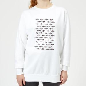Florent Bodart Fish In Geometric Pattern Women's Sweatshirt - White