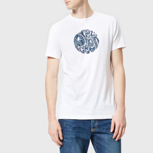 Pretty Green Men's Thornley Paisley Logo T-Shirt - White/Navy