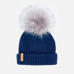 BKLYN Women's Merino Classic Pom Pom Hat - Royal Blue/Grey Blue