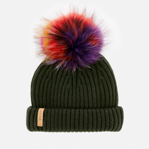 BKLYN Women's Merino Classic Pom Pom Hat - Army Green/Rainbow