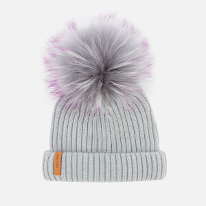 BKLYN Women's Merino Classic Pom Pom Hat - Light Grey/Purple