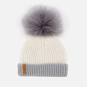 BKLYN Women's Merino Classic Pom Pom Hat - White/Grey