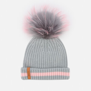 BKLYN Women's Merino Classic Pom Pom Hat - Grey/Pink Stripe