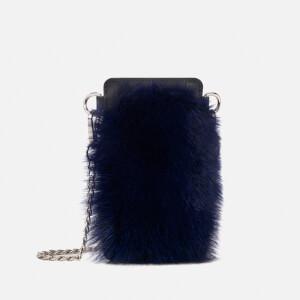 BKLYN Women's Touch Screen Fur Bag - Blue